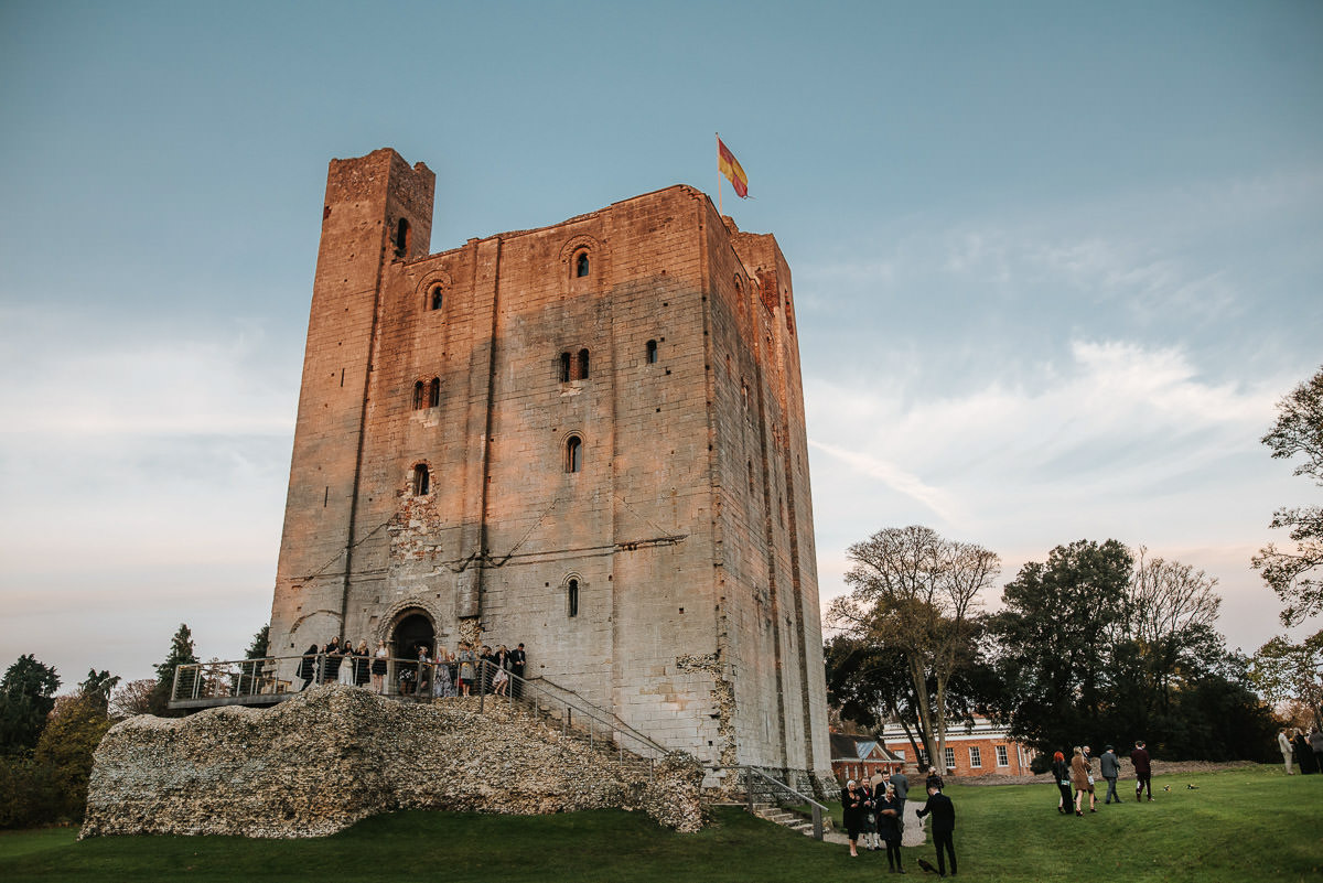 hedingham castle wedding castle at sunset