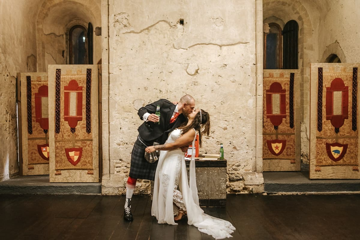 hedingham castle wedding kiss