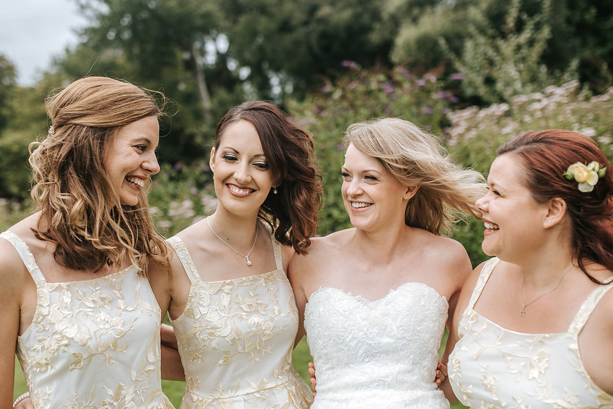 sopley mill wedding drinks reception bride and bridesmaids