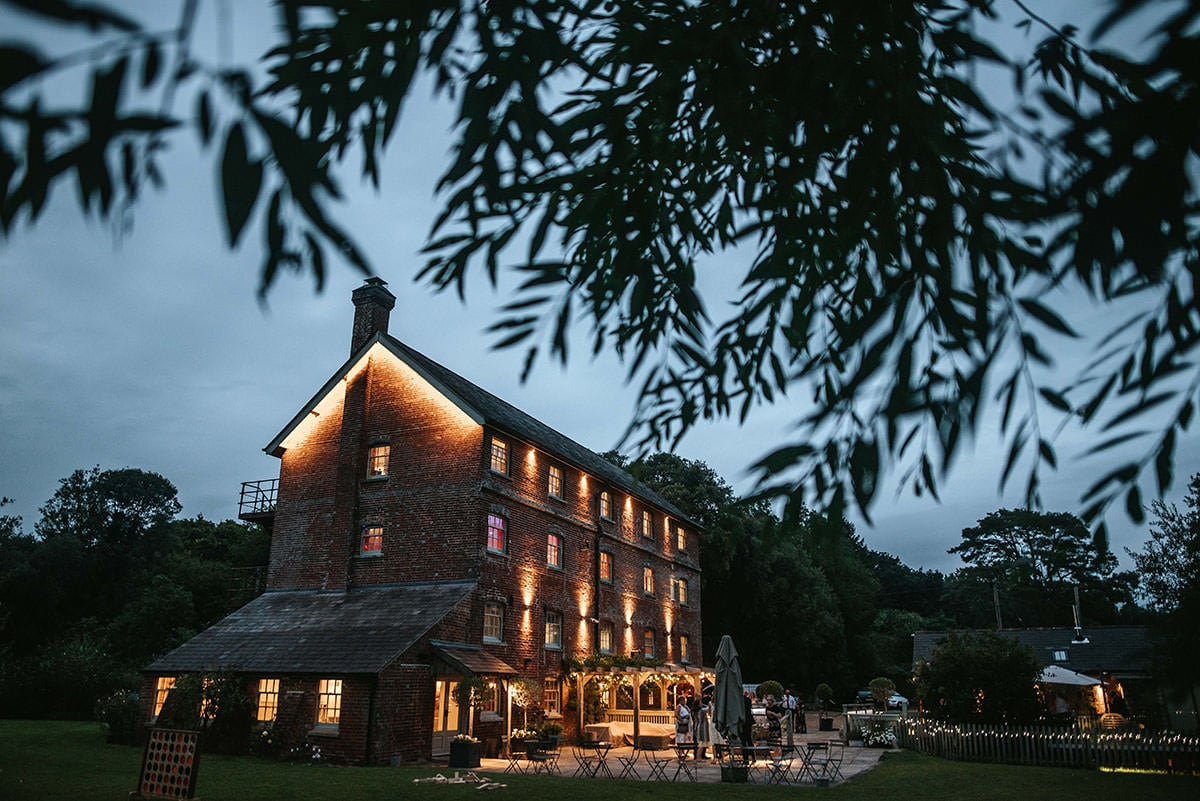 sopley mill wedding venue by night